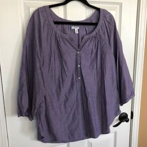 Old Navy Lavender Front Button 3/4 Sleeve Blouse
